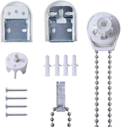 Poweka Kit de Reparación de Persianas Enrollables de Metal 25mm, Mecanismo Estor Enrollable 25mm Cadena Embragues Soportes Tornillos para Persianas Cortinas Enrollables