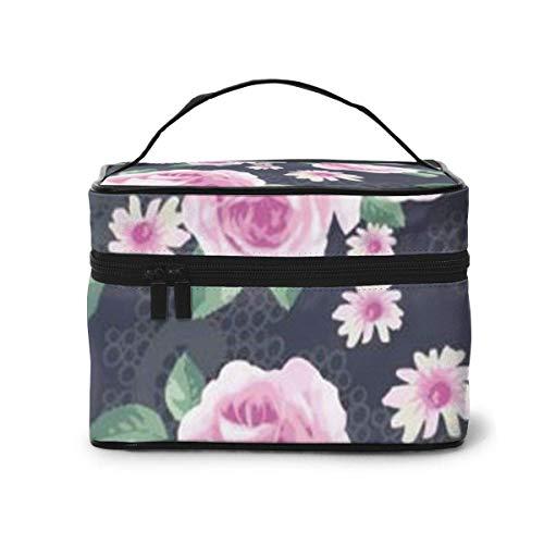 Rose Rose Fleur Motif Voyage Maquillage Train Cas Maquillage Cosmétique Cas Organisateur Portable Artiste Sac De Rangement