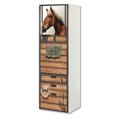 STIKKIPIX Pferde Möbelfolie | SC3K22 | passend für die Kinderzimmer Aufbewahrungskombination STUVA von IKEA | Klebe-Folie passgenau für Schrank und Kommode mit 3 Fächern | Möbel Nicht Inklusive