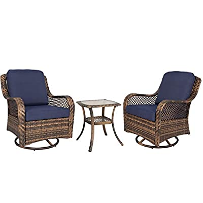Ulax Furniture 3-Piece Patio Rocking Swivel Wicker Chair, Outdoor Conversation Bistro Set, 2 Cushioned Swivel Glider Chair with Side Table (Navy)