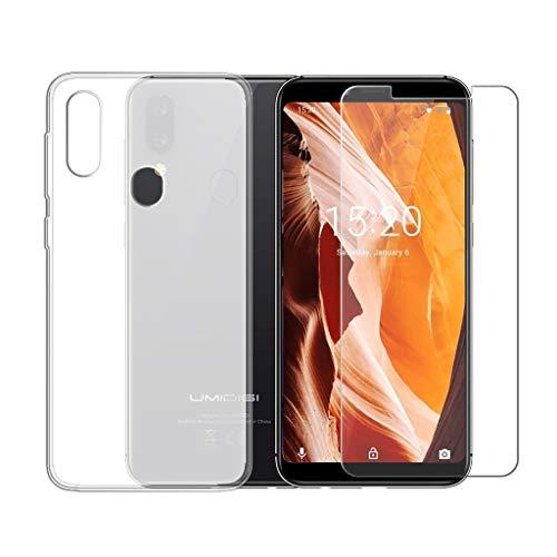 LJSM Hülle für UMIDIGI A3 Semi-Transparent + Panzerglas Bildschirmschutzfolie Schutzfolie - Weich Silikon Schutzhülle Crystal Flexibel TPU Tasche Hülle für UMIDIGI A3 2018 (5.5