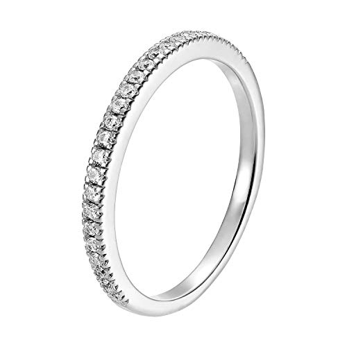 Ring Damen Silber 925 Sterling-Silber Goldring Rose Silberring Memoryring Memoire Damenring schlichter 145040-1 (925 Silber Rhodiniert, 50 (15.9))