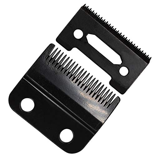 Professional 2-Hole Stagger Tooth Replacement Blades Set #2161, 1 Carbon Steel Fixed Blade, 1 Carbon Steel Moving Blade, Compatible with Wahl 5 Star Series Cordless Magic Clip Hair Clipper(Black)