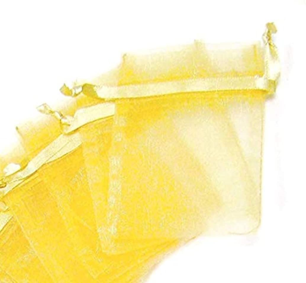 Linpeng 25 Pcs 5x7 Gold Organza Drawstring Pouches Party, Wedding Favor, Gift Bags