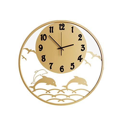 wall clock-Q Wohnaccessoires-QFF Kreative Wanduhr, Hohl Dolphin Dekorative Wanduhr Black Gold Wanduhr Mode Wanduhr Personalisierte Wanduhr Familiennutzung (Color : Metallic, Size : 50 * 50cm)