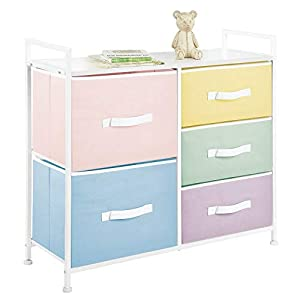 mDesign Wide Dresser 5 Drawers Storage Furniture – Wood Top, Easy Pull Fabric Bins – Organizer for Child/Kids Room or Nursery – Multi-Colored Drawers/White Frame