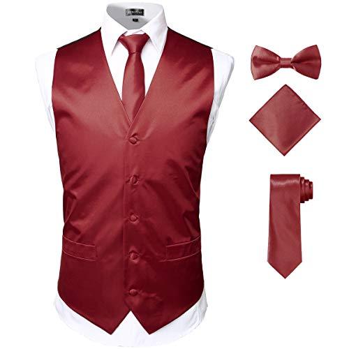 ZEROYAA Herren 4-teiliges Set aus glänzender Satin-Weste, Krawatte, Fliege, Einstecktuch, Set für Anzug oder Smoking - Rot - XXX-Large