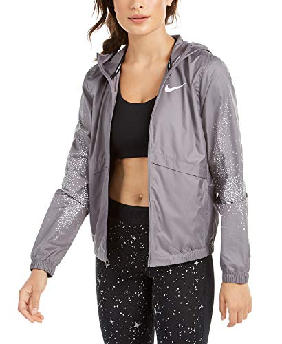 Nike Womens Running Fitness Athletic Jacket Gray S