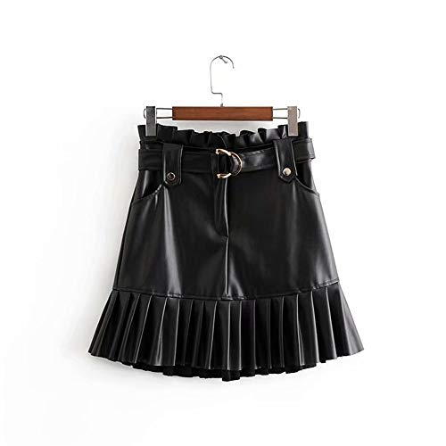Vrouwen PU leren rok met riem Fashion Solid Color Streetwear ruches Plisse Mini Rokken A-lijn Party Club Sexy Short Skirt (Color : Black, Size : M)