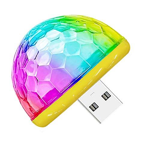 Mini luz de discoteca USB, 5 V, 3 W, LED, bola pequeña de discoteca, lámpara de sonido mini USB, luz ambiental para fiestas DJ KTV