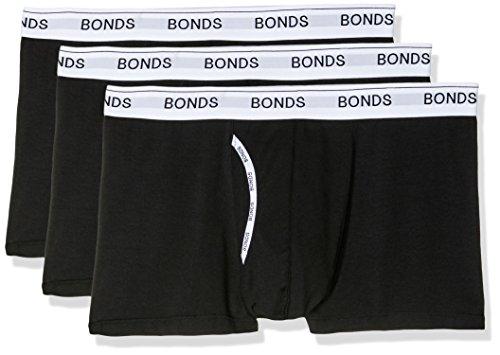 Bonds Men's Underwear Cotton Blend Guyfront Trunk, Black, Large (3 Pack)