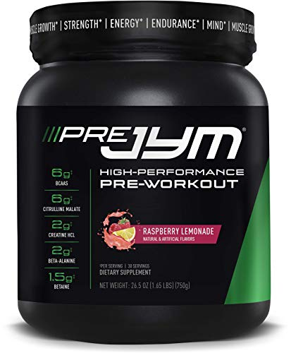 Pre JYM Pre Workout Powder - BCAAs, Creatine HCI, Citrulline Malate, Beta-Alanine, Betaine, and More | JYM Supplement Science | Raspberry Lemonade Flavor, 30 Servings