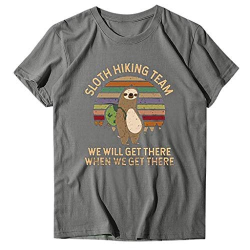 Ghazzi Women Tops Sloth Hiking Team Funny Letter Print Short Sleeves O-Neck Tee Tops Loose Fitting Graphic T-Shirt Blouses Gray