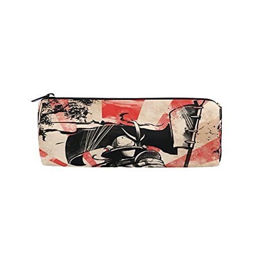 HaJie - Estuche para lápices, diseño vintage japonés Samurai con cremallera, organizador de papelería, para niñas, niños, mujeres y hombres