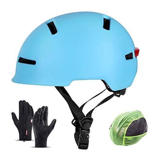 Casco De Ciclismo, Casco De Cercanías Con Advertencia LED Luz De Cola Sports Sports Safety Casco Resistencia Al Impacto Ventilación Ligero Ligero Para Ciclismo Bicicleta De Carretera De Montaña,Azul