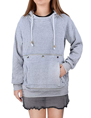 besbomig Damen Sweatshirt Mode Pullover Haustier Halter - Große Tasche Hoodie Kapuzenpullover mit Reißverschluss für Hunde Katzen Carrier Lange Ärmel Tops Herbst Winter