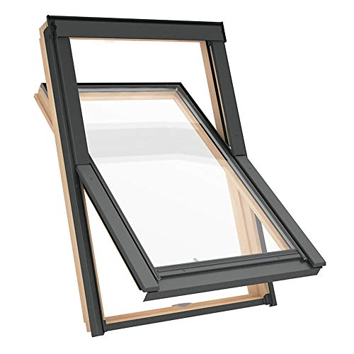Solstro DPX B500 Dachfenster mit schmalem Rahmen, Kiefernholz, kombiniert mit Schindel-Eindeckrahmen - S6A, 114 x 118 cm