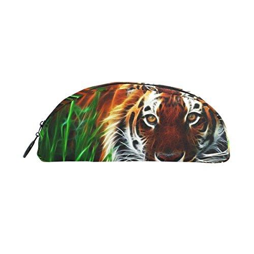 COOSUN Tiger - Estuche para lápices con diseño de tigre en 3D, semicircular, bolígrafo de papelería, bolsa de maquillaje, bolsa de cosméticos para mujeres y niñas