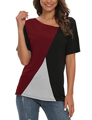 AUSELILY Camisetas de Manga Corta para Mujer Blusas Tops de túnica con Bloques de Color Patchwork.(Vino Negro Rojo,40-44)