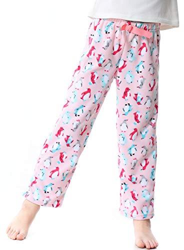 Image of Pink Penguin Fleece Pajama Pants for Girls