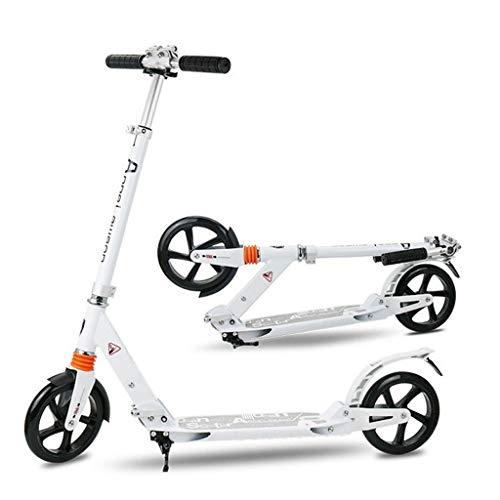 GTYMFH Scooter de pie Kick Scooter Rueda Grande Plegable for Adultos/Adolescentes/Niños Ultraligero portátil del Viajero Vespa con Ajustable Manillar no eléctricos Scooter de Ciudad (Color : White)