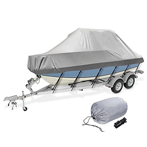 Fonda de Lancha Impermeable 600D Oxford, Multi-Tamaño UV Resistente Polvo Almacenamiento Cubierta de yate Barco de Pesca y esquí Casco en V,14to16FT: 530x290cm
