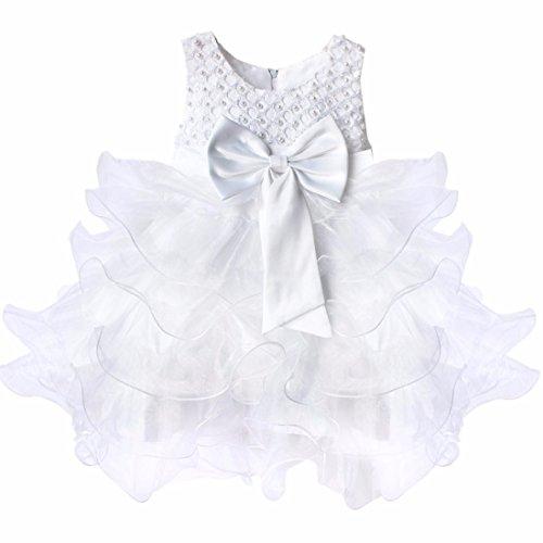 iiniim Robe de Cérémonie Enfant Fille Grande Noeud Papillion Robe sans Manches Princesse Robe Fleur des Enfants pour Baptême Anniversaire 3-24 Mois Blanc 6-9 Mois