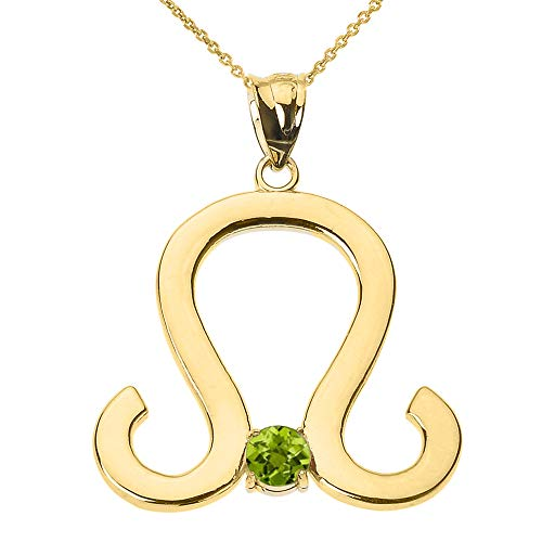9 ct Gold Yellow Gold Leo Zodiac Sign August Birthstone Pendant Necklace Necklace (Available Chain Length 16'- 18'- 20'- 22') B