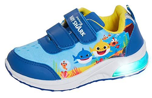 Pinkfong Zapatillas deportivas para niños con luces intermitentes para correr, para niños, fáciles de fijar, color Azul, talla 28 EU