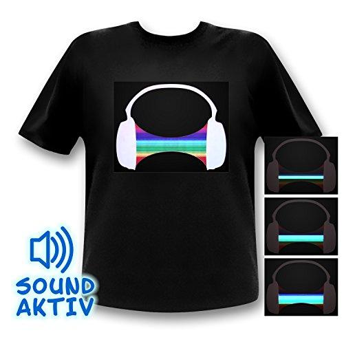 Ucult LED Equalizer T-Shirt Headphone Partyshirt Kopfhörer (S)