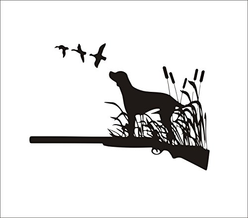 Home Find Dog Wall Decals Animal Wall Stickers Hunting Dog in Grass with Shotgun Silhouette Vinyl Nature Stickers Bedroom Living Room Removable Mural Unique Design Decor 22.4 inches x 15.7 inches