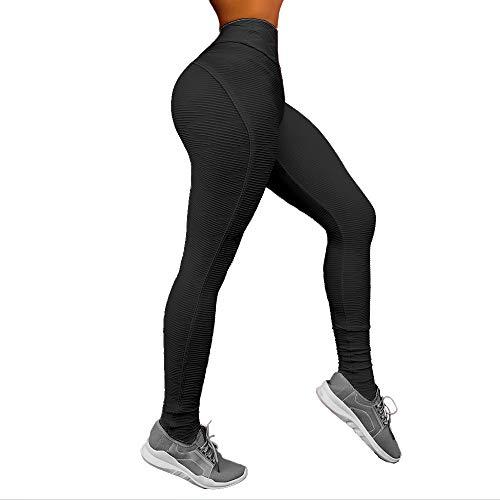 INSTINNCT Women Fashion Testure Sports High Waist Legging Gym Fitness Running Slimming Skinny Yoga Pants, Black, S