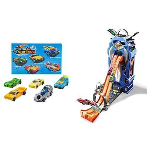 Hot Wheels Shifters Pack de 5 Coches Que cambian de Color + Supergaraje, Garaje para Coches de Juguete