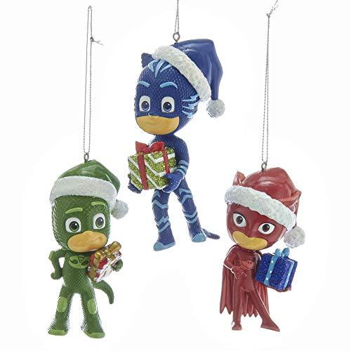 Kurt Adler PJ1191 Holiday Decorative PJ Masks Santa Hats Hanging Accessory Christmas Tree Ornament Set with String Hanger (3 Pack)