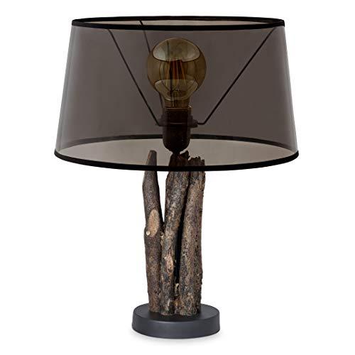 Home sweet home tafellamp Bindy houten takken met lampenkap Melrose - smoke