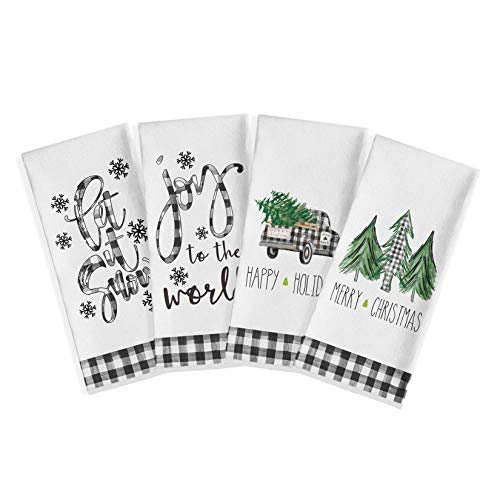 Artoid Mode Buffalo Plaid Truck Trees Kitchen Dish Towels Let It Snow, 18 x 28 Inch Christmas Holiday Joy to The World Ultra Absorbent Drying Cloth Tea Towels for Cooking Baking Set of 4