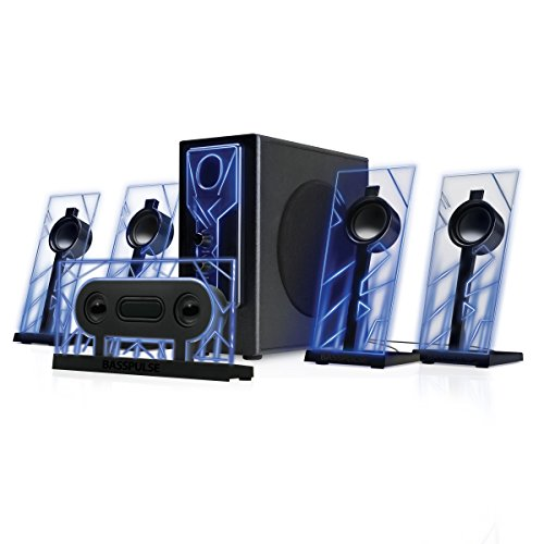 GOgroove BassPULSE 5.1 Computer Speakers Surround Sound with Subwoofer, 80 Watts and Blue LED Glow Lights - Compatible with Desktop and PC Computers Supporting 5.1 Audio Input