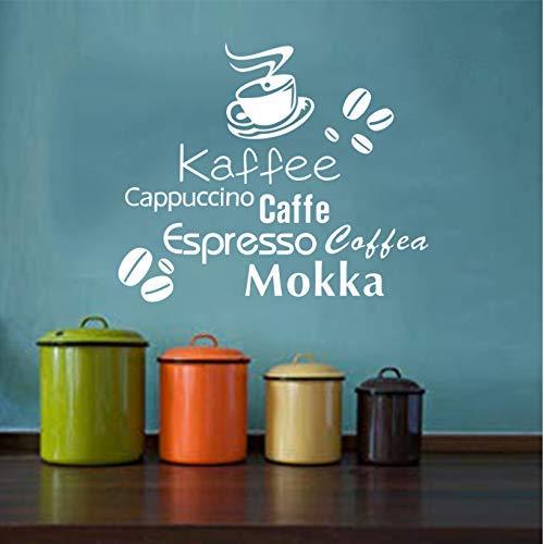 Deutsch Englisch Italienisch Kaffeebohne Vinyl Wandaufkleber Wandbild Coffee Shop Wandtattoo Künstler Residenz Dekoration 46X57Cm
