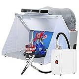 Kacsoo Kit profesional de cabina de pulverización de aerógrafo para colorear, ventilador de escape, para hornear, pintura, banco de trabajo + juego de herramientas de pintura en spray