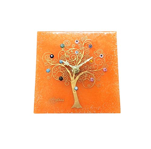 Sospir Venezia - Reloj de mesa cuadrado de cristal de Murano con árbol de la vida, 9 x 9 cmtécnica de vitrofusión, decoración de paredes y hojas doradas, hecho a mano por artesanos venecianos(naranja)