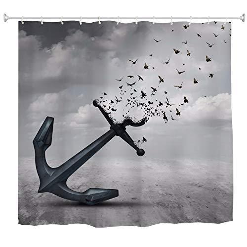 A.Monamour Duschvorhänge Anker Fliegende Vögel Grau Hintergründe Art Print Stoff Polyester Nicht Kunststoff PVC Wasserdicht Mouldproof Lange Verdicken Duschvorhang 165X180 cm / 65