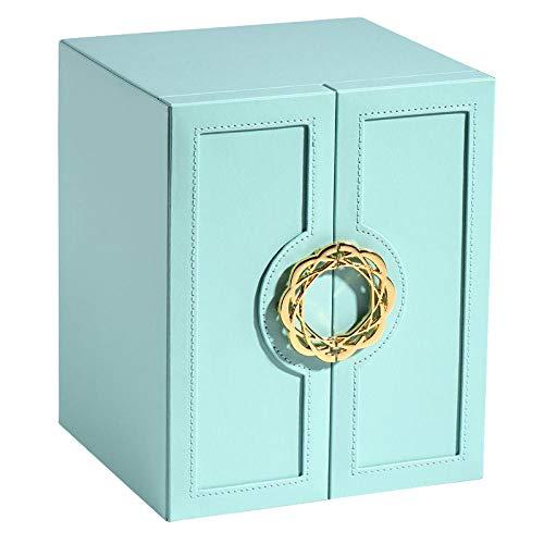 Caja de joyería multicapa cajón de gran capacidad pendiente collar caja de almacenamiento joyería estante doble puerta almacenamiento caja azul