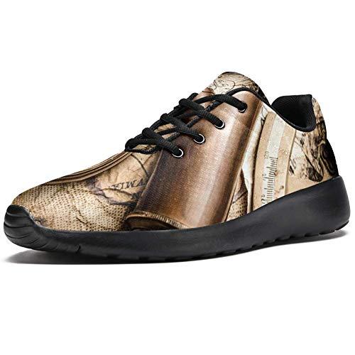 Iobaby - Zapatillas deportivas para mujer, diseño retro con brújula y telescopio, de malla transpirable, para caminar, senderismo, tenis, color Multicolor, talla 36.5 EU