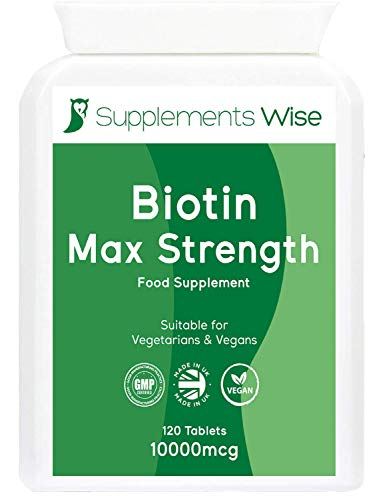 Biotin Tablets for Hair Growth - 120 X 10 000mcg - Get Thicker Hair and Fuller Beard - Promotes Faster Nail Growth and Healthy Skin - Suitable for Men and Women - Max Strength Vitamin B7 Supplement