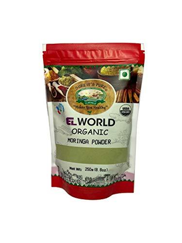 Elworld Organic Moringa Powder – (Certified Organic, Premium Quality, Plant Protein, Minerals & Antioxidants, Superfood, Oleifera Leaf Powder) (250 Gram)
