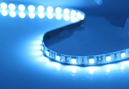 Ossun® ijsblauwe led-decoratielijst – ideaal voor bar/salon/aquarium/sokkelverlichting/onderkast (netadapter meegeleverd) 2X50CM blauw