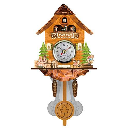 OUJIE Madera Vintage Reloj De Pared,Bricolaje Creativo Choza Cuco Estilo Europeo Sala De Estar Reloj,Adecuado para Estudio Oficina Dormitorio Cocina Cuarto De Baño Reloj de Péndulo