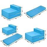 Sapphire Z Bed - Cama individual plegable para huéspedes con funda extraíble con cremallera, 100% algodón, color turquesa