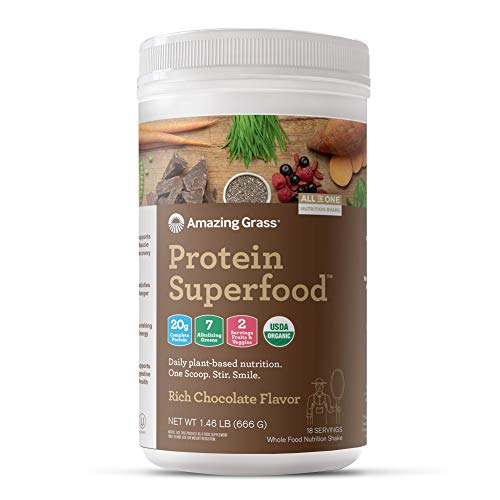 Amazing Grass Organic Plant Based Vegan Protein Superfood Powder with Vitamin Matrix, Flavor: Rich Chocolate, 18 Servings, 22.9oz, Meal Replacement Shake