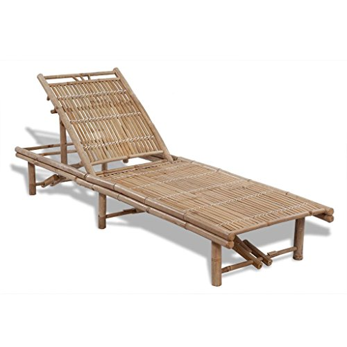 Fesjoy Chaise Longue Bamboo Sun Bed Chaise Longue da Giardino in Legno Poltrona Regolabile Chaise Longue reclinabile Chaise per Beach Yard Pool Bamboo Chaise Longue con poggiapiedi